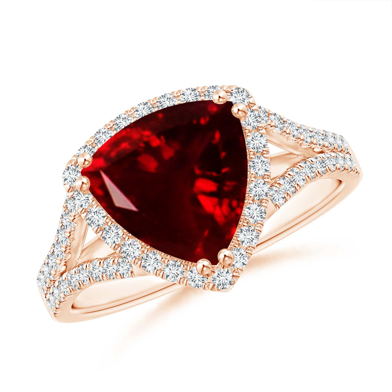 Angara Trillion Morganite Cocktail Ring with Diamond Accents 6u7zJIQXB