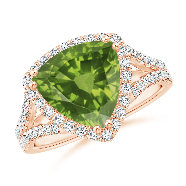 Angara Vintage Style Peridot Cocktail Ring with Diamond Halo gZtGhl3KY