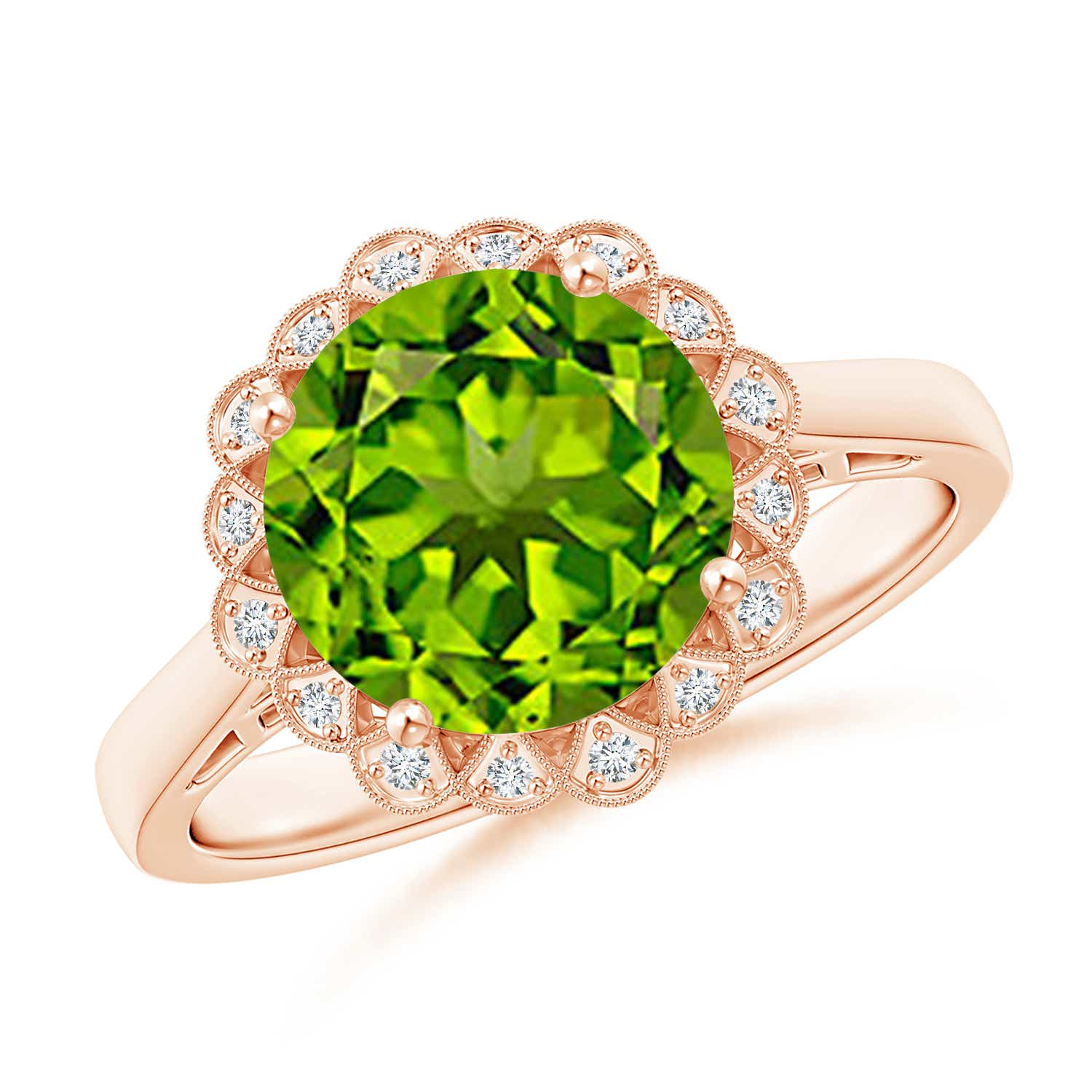 Angara Vintage Diamond Floral Halo Oval Peridot Cocktail Ring in White Gold VoNjOOXii2