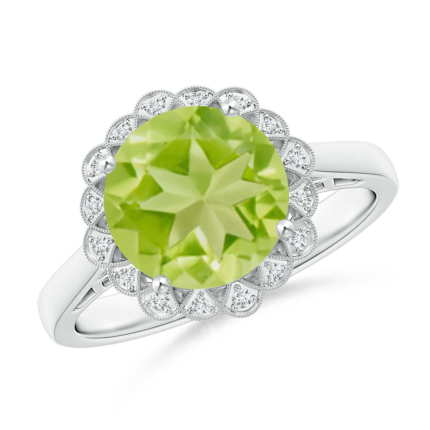 vintage style peridot cocktail ring with diamond halo angara
