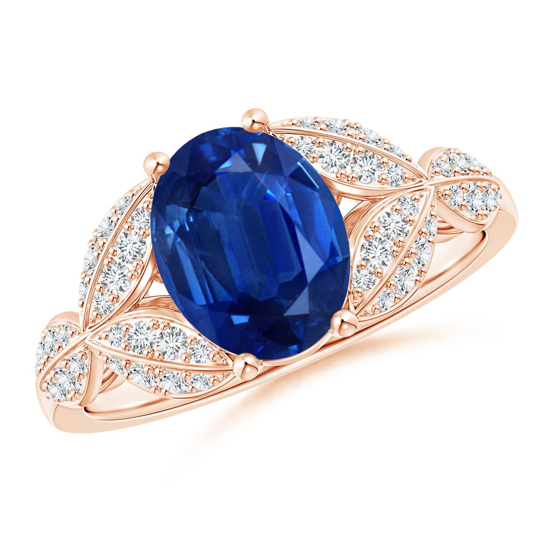 Sapphire And Diamond Trillium Petal Flower Ring Angara