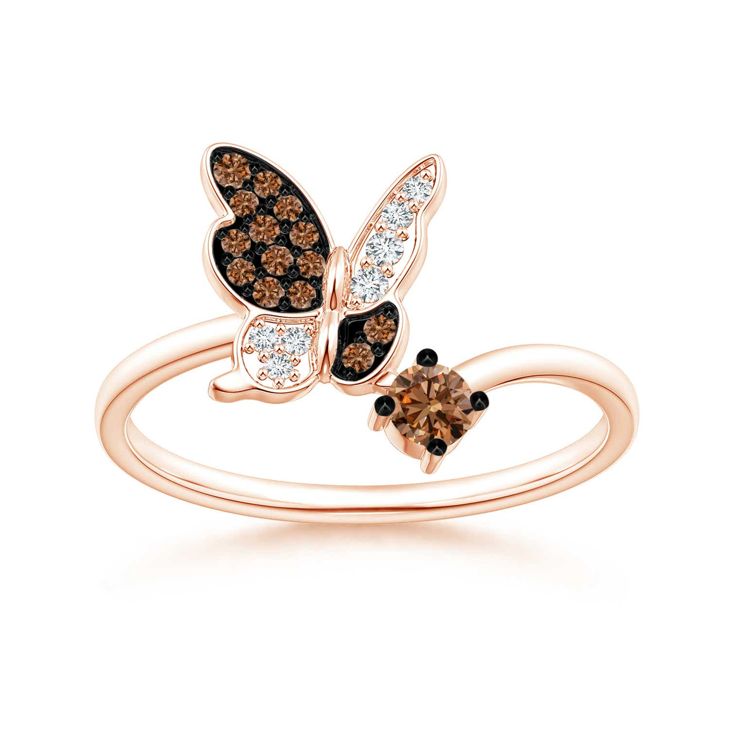 Coffee and White Diamond Butterfly Bypass Ring - Angara.com