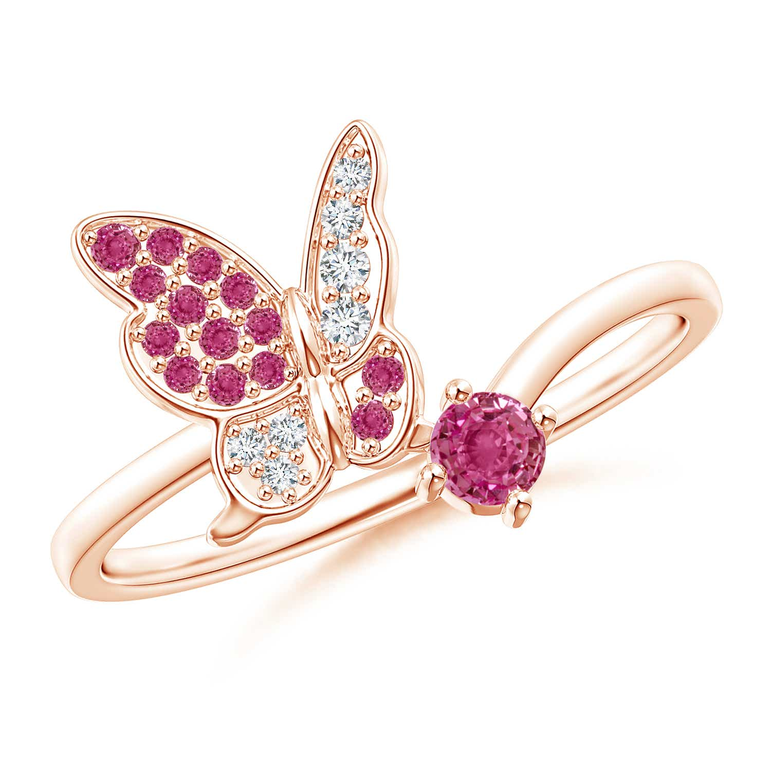 Pink Sapphire and Diamond Butterfly Bypass Ring - Angara.com