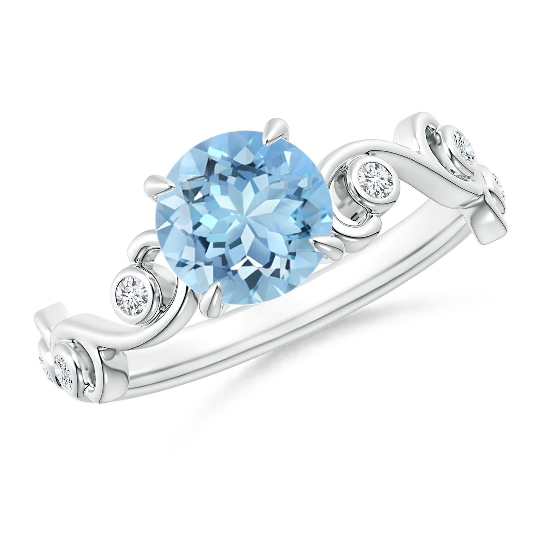 Ivy Scroll Bands: Aquamarine And Diamond Ivy Scroll Ring