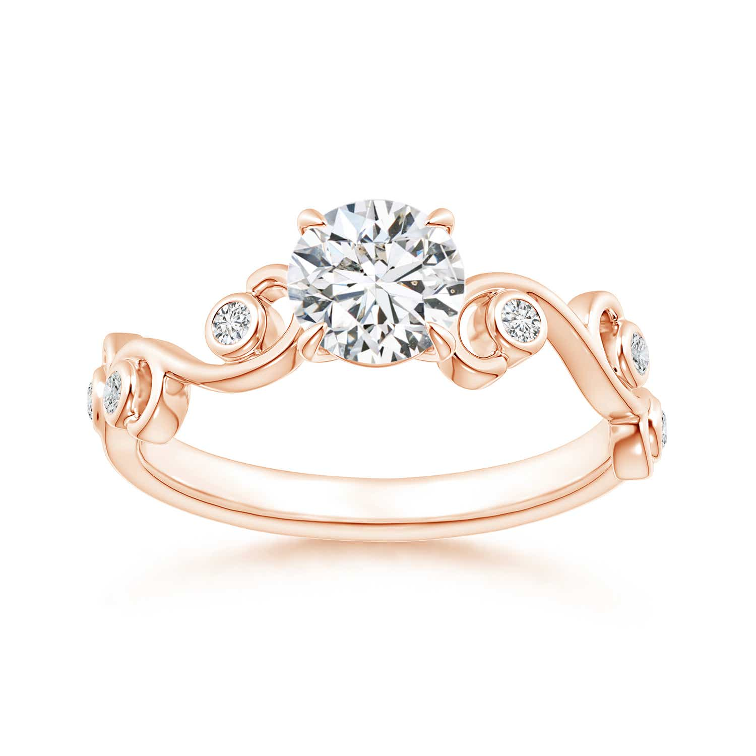 Ivy Scroll Bands: Claw Set Diamond Ivy Scroll Ring