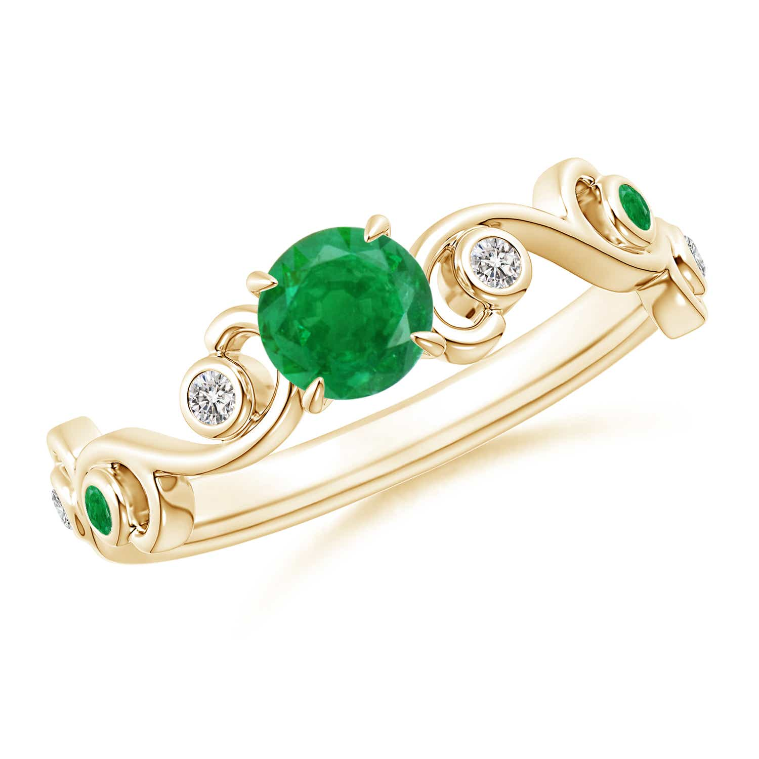 Ivy Scroll Bands: Solitaire Natural Emerald Diamond Ivy Scroll Ring Gold