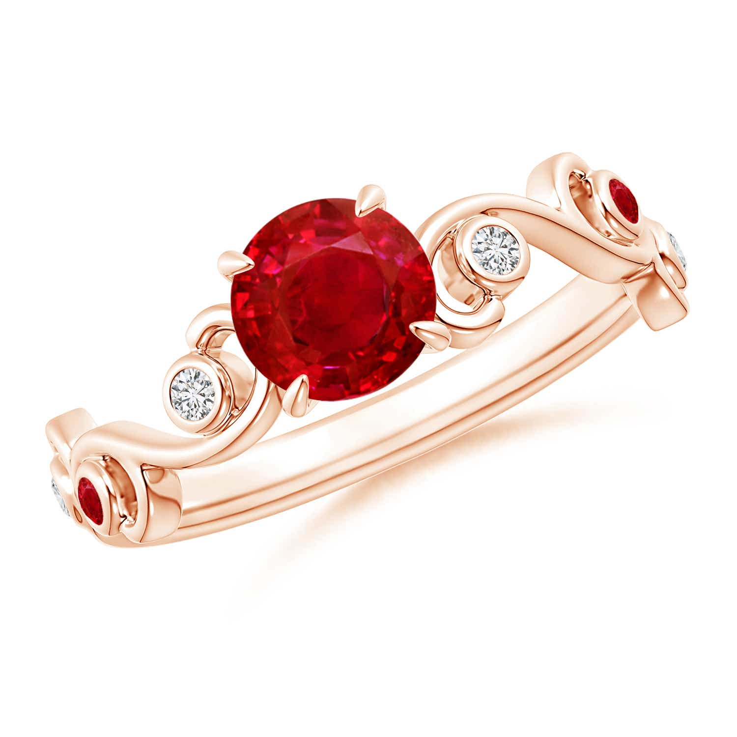 Ivy Scroll Bands: Ruby And Diamond Ivy Scroll Ring