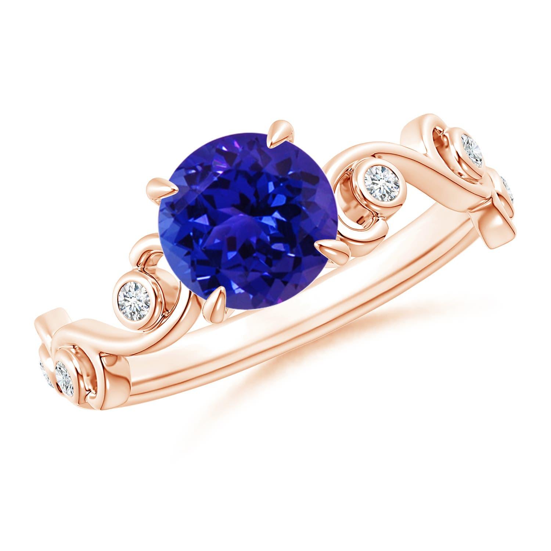 Tanzanite and Diamond Ivy Scroll Ring - Angara.com