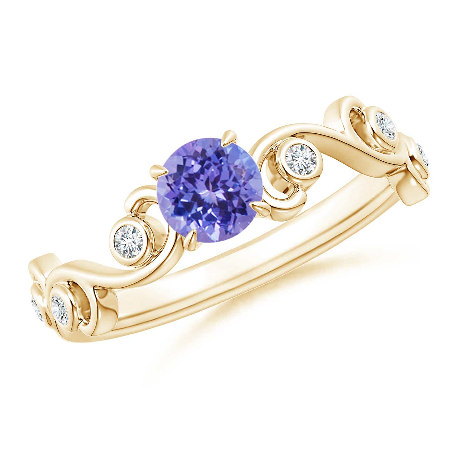 Ivy Scroll Bands: Tanzanite And Diamond Ivy Scroll Ring