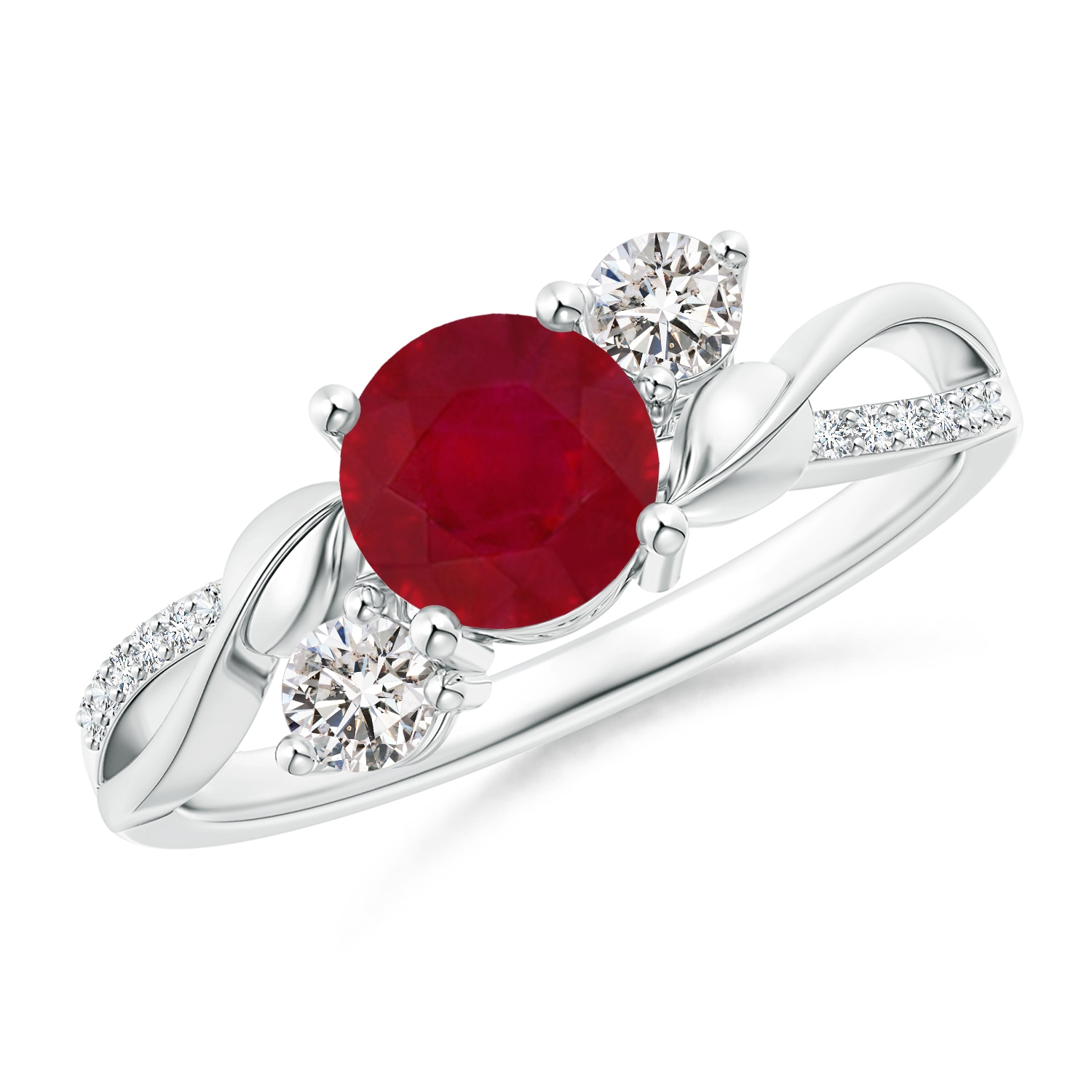 Angara Prong Set Natural Ruby and Diamond Three Stone Ring in 14k White Gold