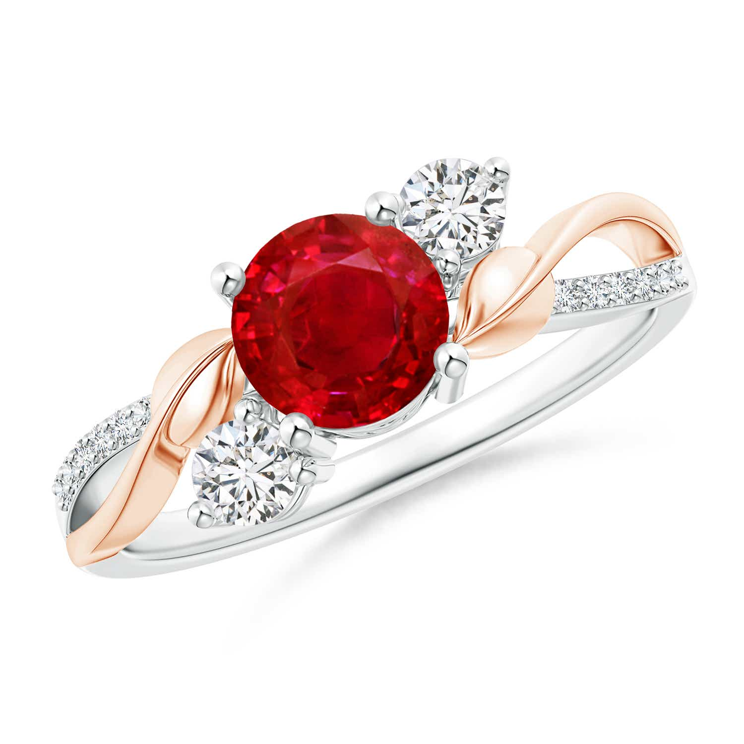 Ruby and Diamond Twisted Vine Ring - Angara.com