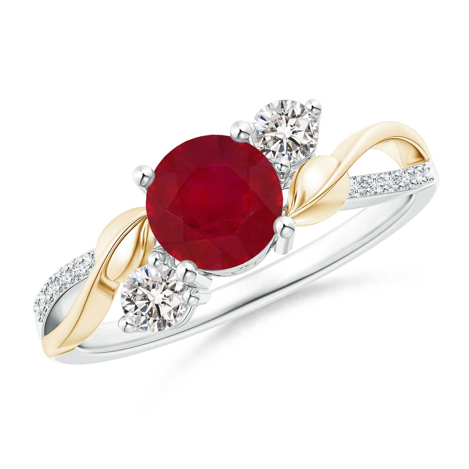 Angara Diamond and Natural Ruby Three Stone Ring in 14k Yellow Gold 1oZDm