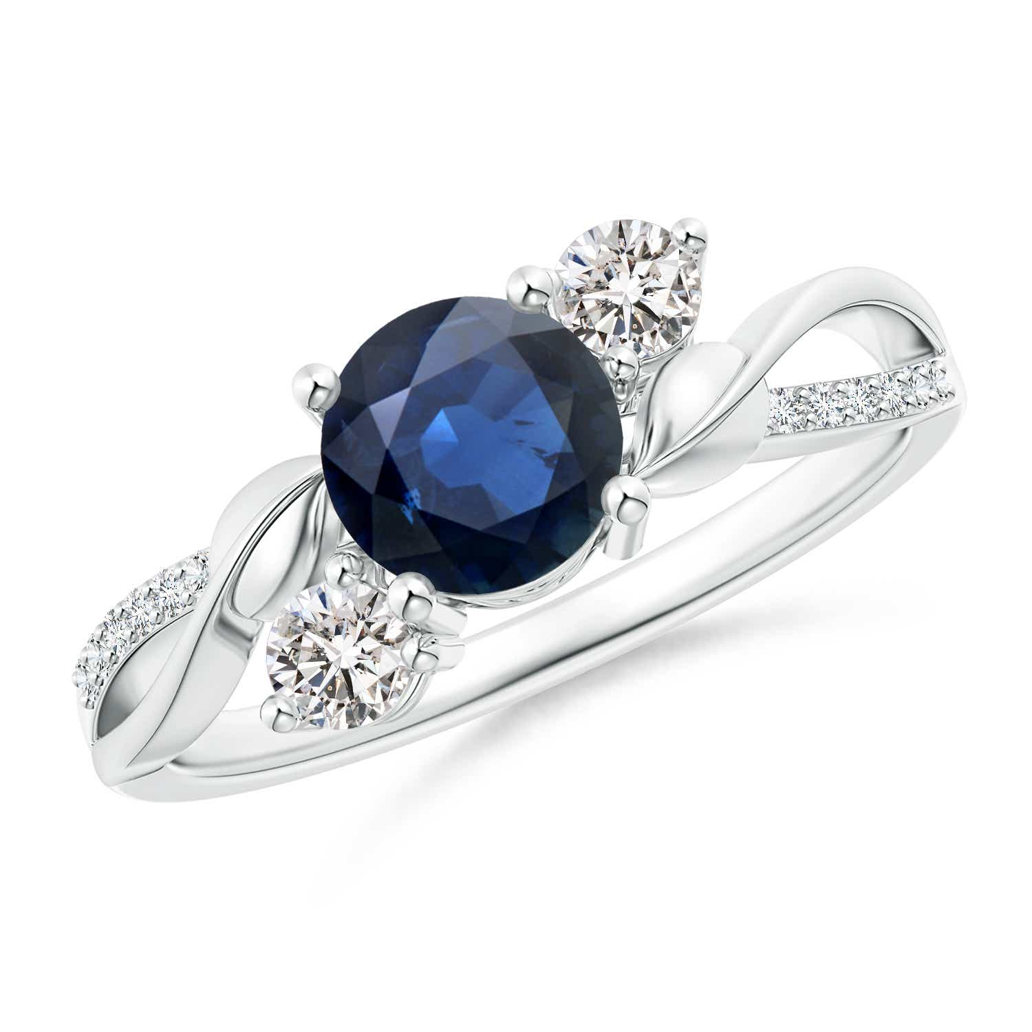 Angara Natural Sapphire Engagement Ring in 14k White Gold 32ZEWMxzE
