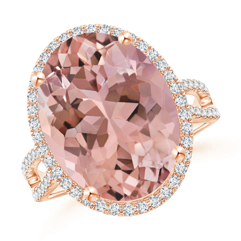 Oval Morganite and Diamond Halo Cocktail Ring - Angara.com