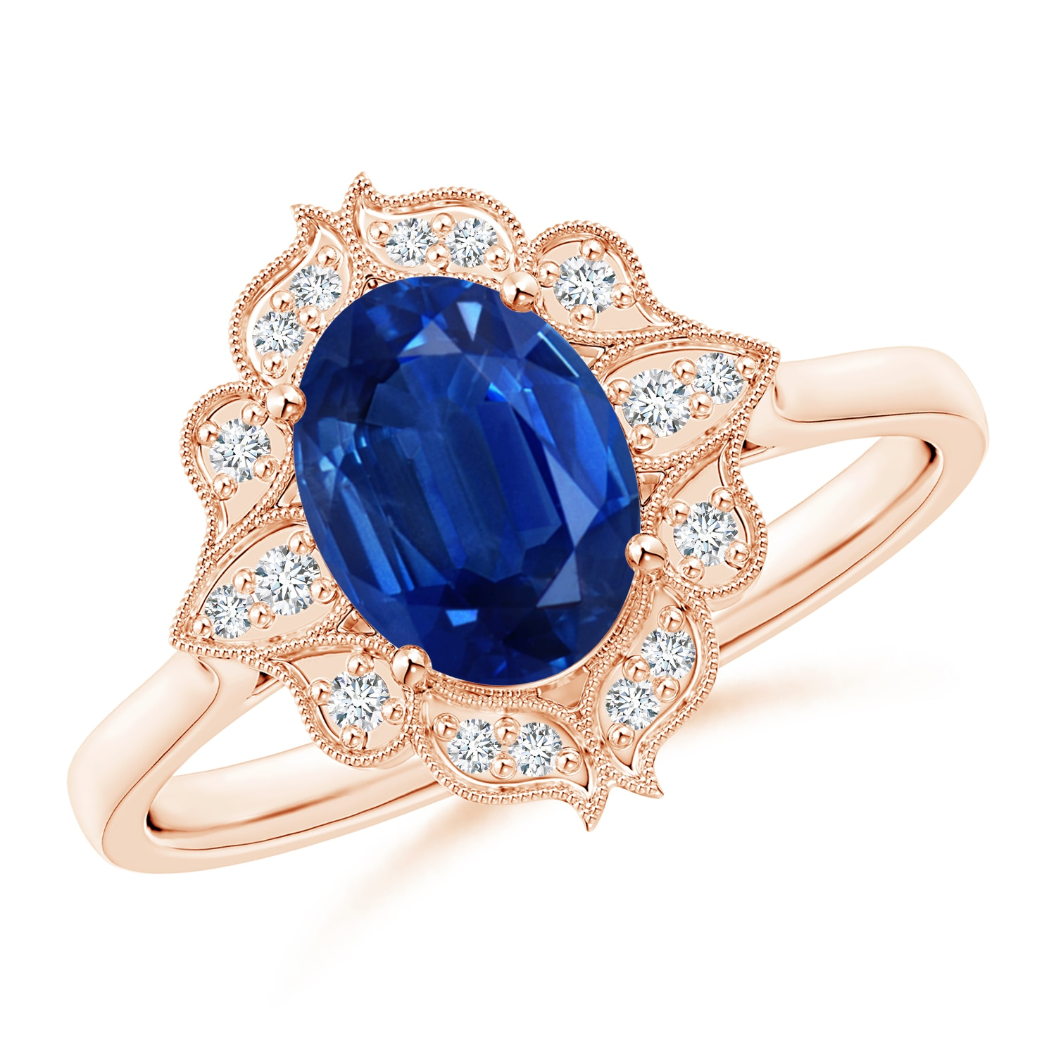 Flower Halo Wedding: Vintage Style Oval Sapphire Engagement Ring With Floral