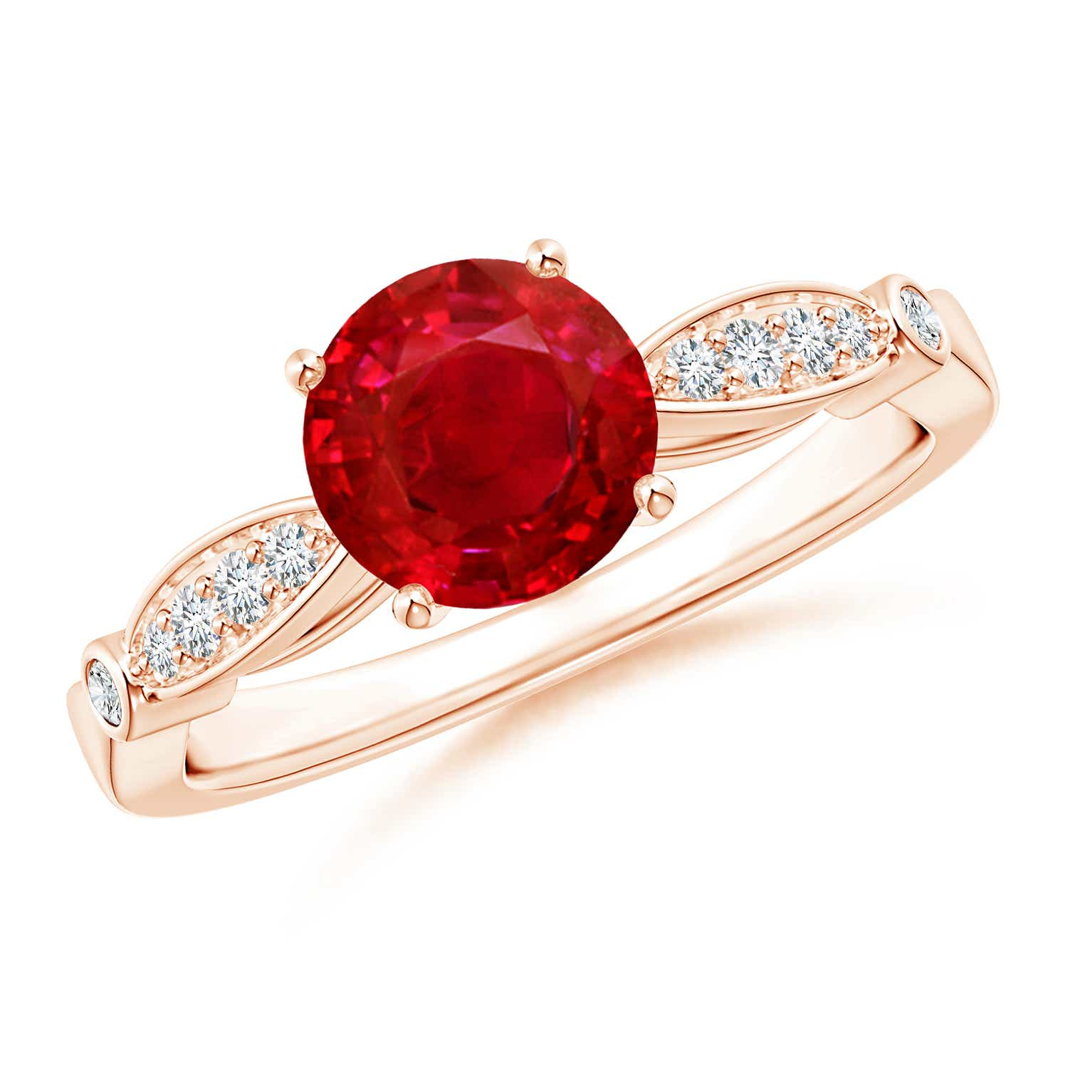 Vintage Style Round Ruby Marquise and Dot Engagement Ring - Angara.com