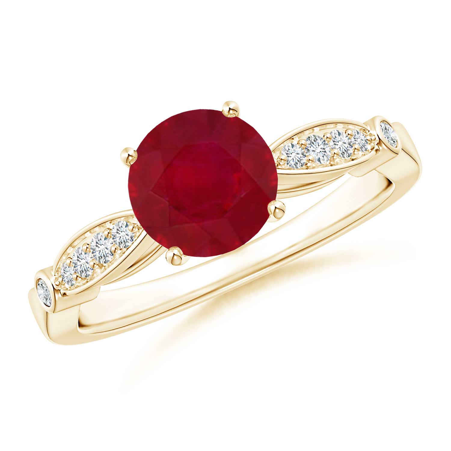 Angara Bezel-Set Vintage Ruby Solitaire Engagement Ring 14k Yellow Gold MZMZZ