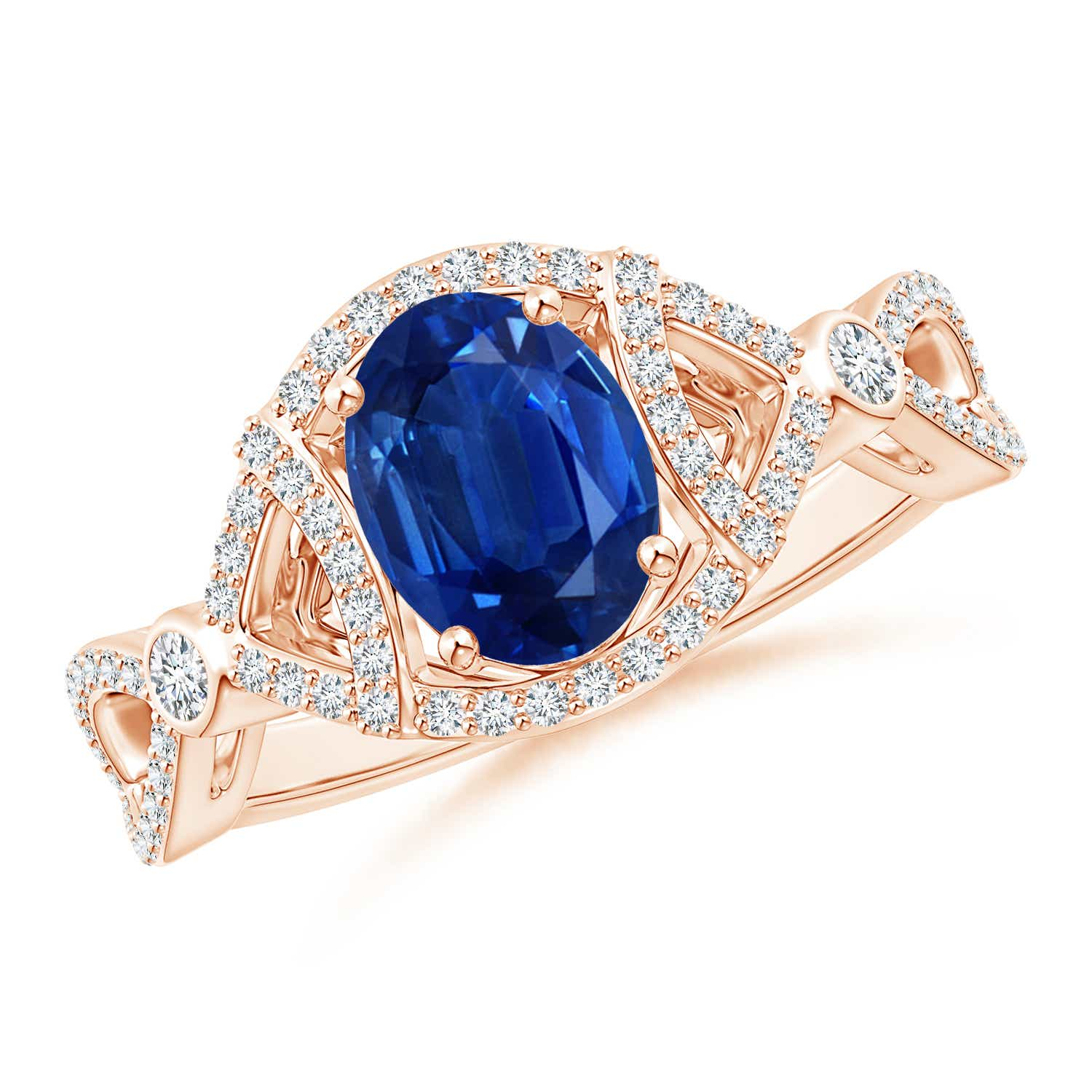 Vintage Style Oval Sapphire Split Shank Engagement Ring - Angara.com