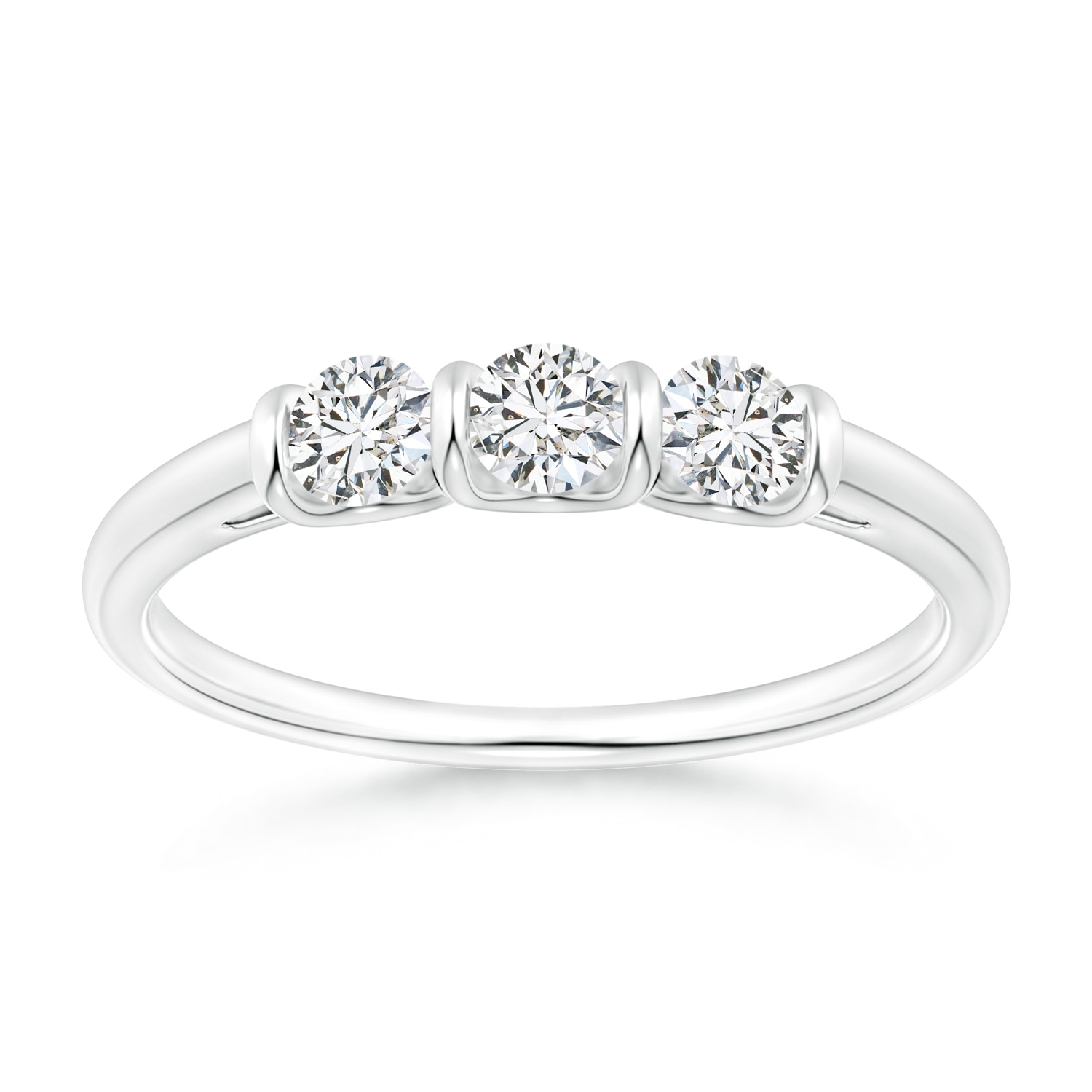 Classic Bar-Set Diamond Three Stone Ring - Angara.com