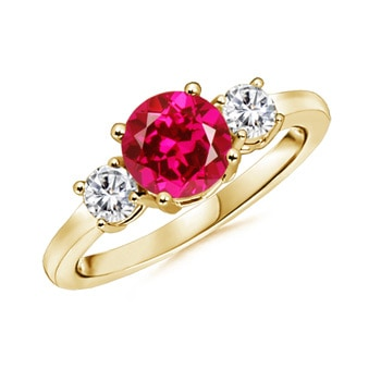 Lab Created Round Ruby and Diamond Three Stone Ring - Angara.com