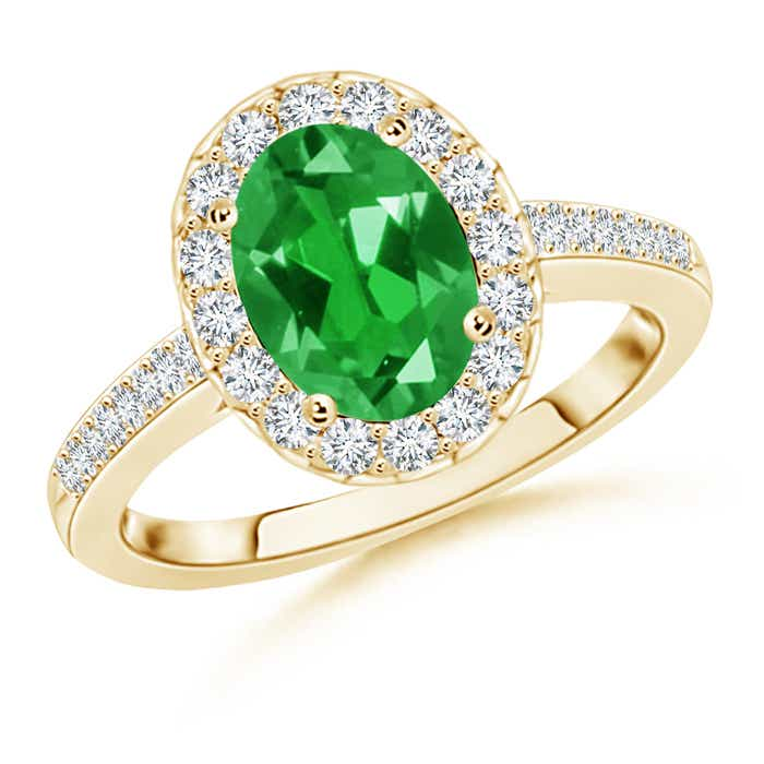 Lab Created Solitaire Oval Emerald Halo Engagement Ring - Angara.com