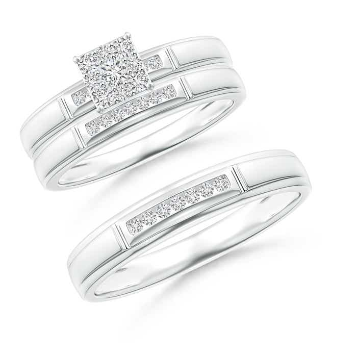 Step-Edged Channel-Set Diamond Square Cluster Trio Wedding Ring Set - Angara.com