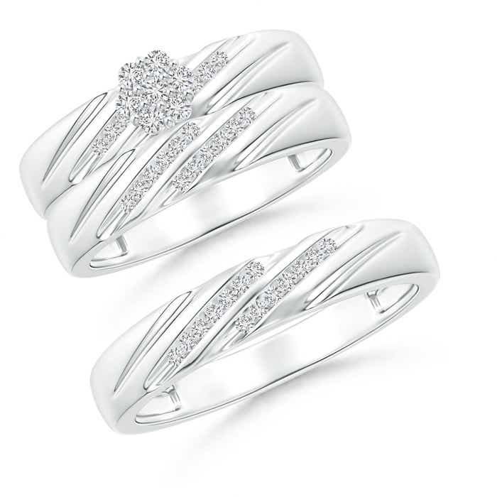 Slanted Channel-Set Diamond Cluster Trio Matching Wedding Ring Set - Angara.com