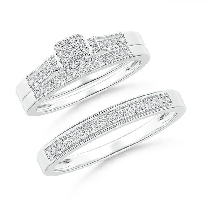 Milgrain-Edged Pave Set Diamond Square Halo Trio Wedding Ring Set - Angara.com