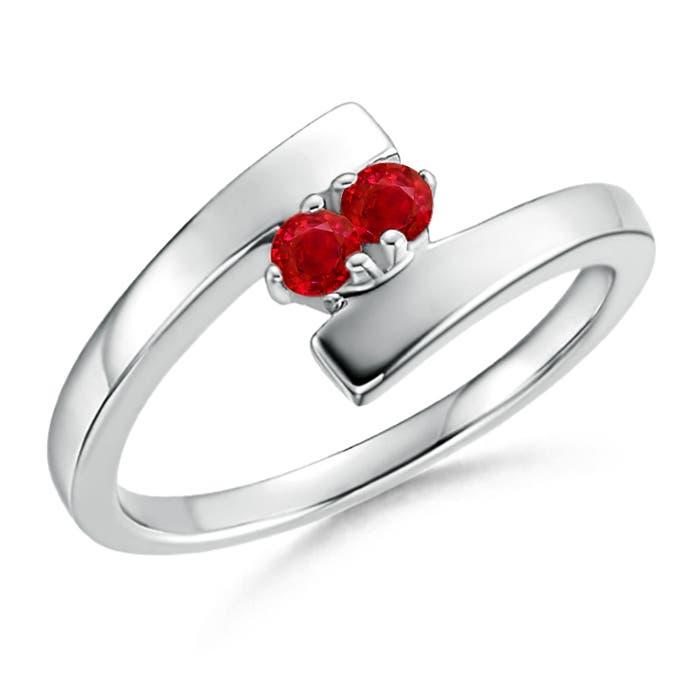 Bypass Round Two Stone Ruby Ring - Angara.com