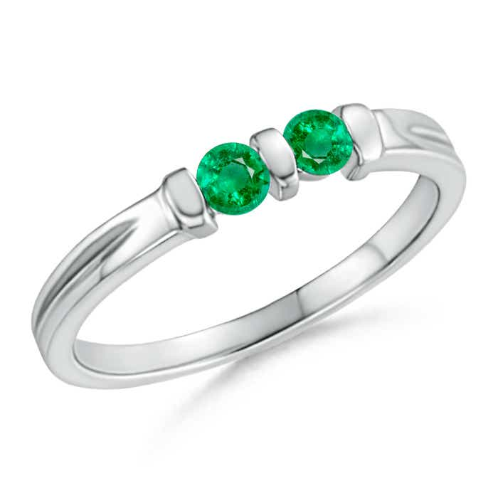 Round Two Stone Emerald Ring with Bar Setting - Angara.com