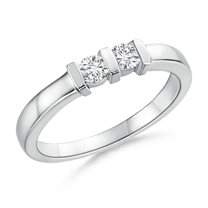 Round 2 Stone Diamond Ring with Bar Setting - Angara.com