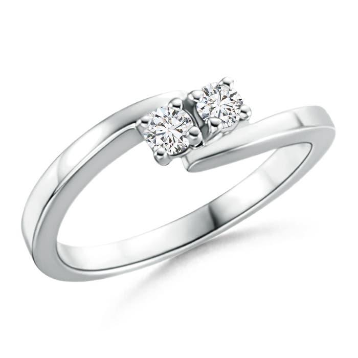 Classic Round Two Stone Diamond Bypass Ring - Angara.com