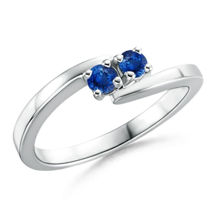 Classic Round Two Stone Blue Sapphire Bypass Ring - Angara.com