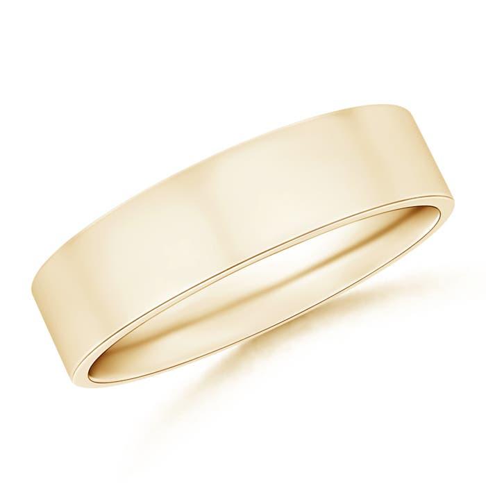 High Polished Flat Surface Comfort Fit Wedding Band - Angara.com