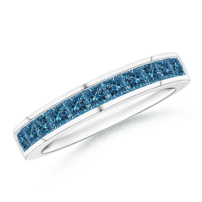Channel Set Princess Enhanced Blue Diamond Half Eternity Band - Angara.com