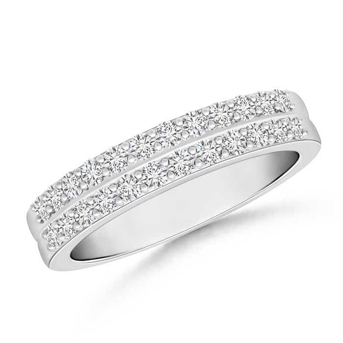 Prong Set Two Row Diamond Wedding Band for Her - Angara.com