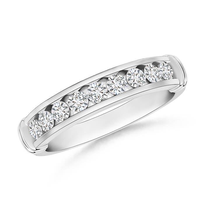 Channel Set Round Diamond Semi Eternity Love Wedding Band - Angara.com