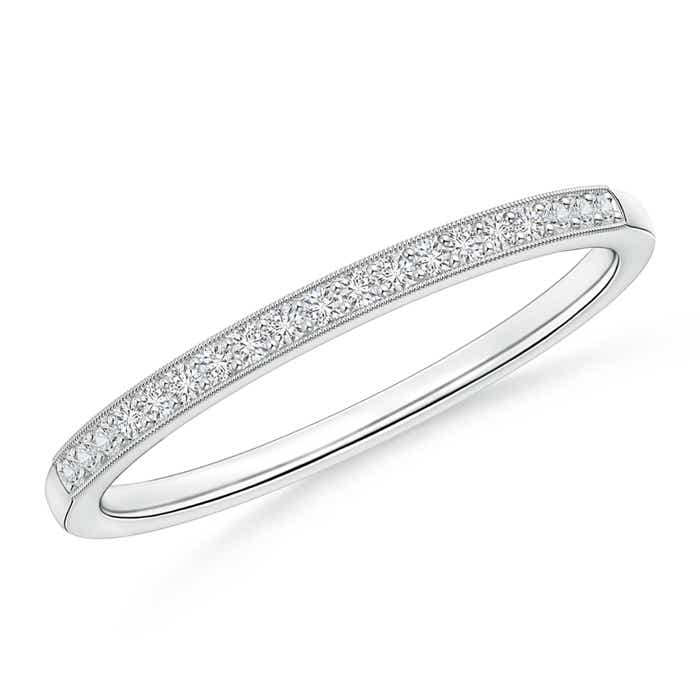 Pave-Set Women's Diamond Wedding Band with Milgrain Edge - Angara.com