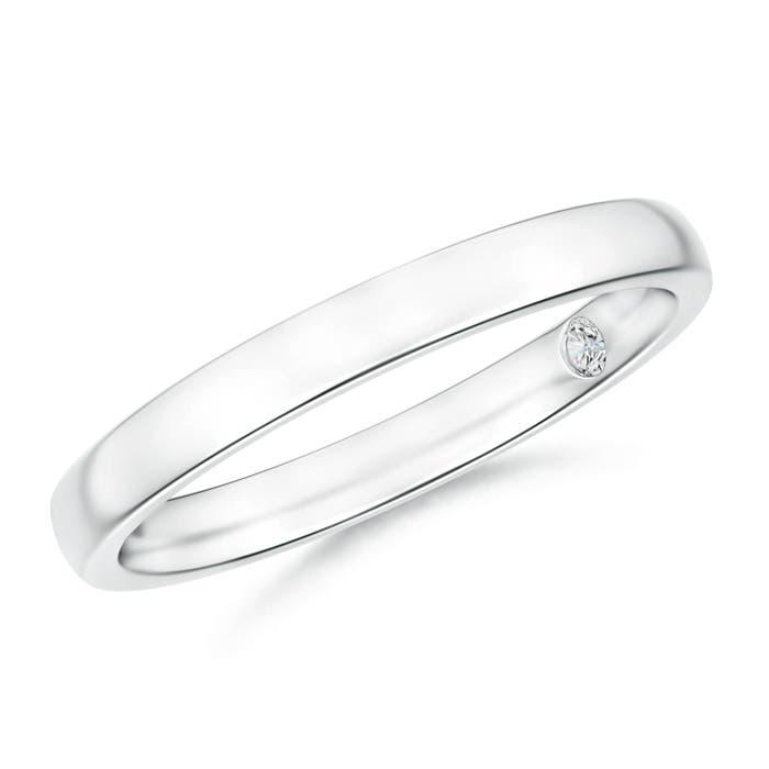 Plain wedding band with Secret Diamond - Angara.com