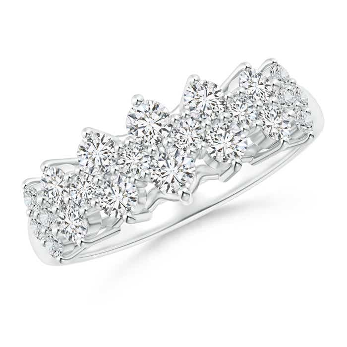 Round Cluster Diamond Garland Wedding Band - Angara.com