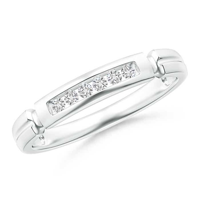 Incised Channel-Set Diamond Half Eternity Women's Wedding Band - Angara.com