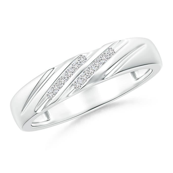 Angara Triple-Ribbed Channel Set Diamond Womens Wedding Band v3nV1TGIS
