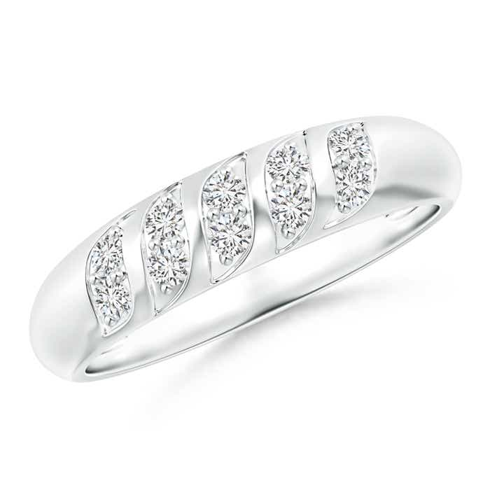 Angara Pave-Set Wavy Diamond Dome Wedding Band for Her SfBPw