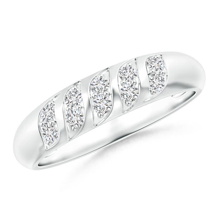 Pave-Set Wavy Diamond Dome Wedding Band for Her - Angara.com