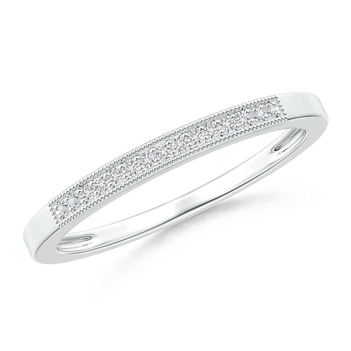 Milgrain-Edged Pave Set Diamond Half Eternity Women's Wedding Band - Angara.com