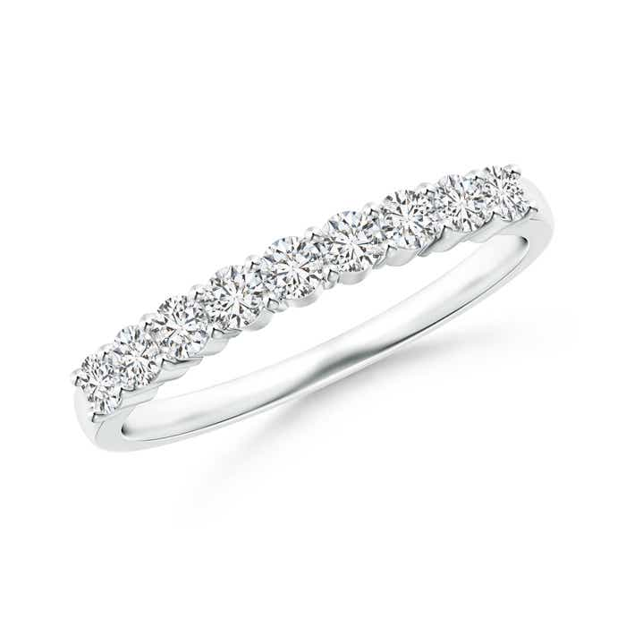 Nine Stone Shared Prong-Set Diamond Wedding Band - Angara.com