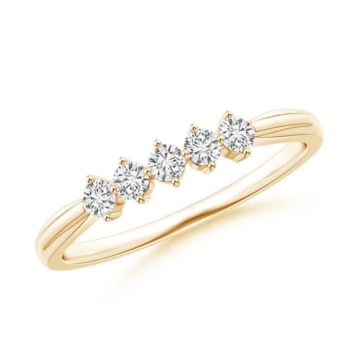 Angara Floating Diamond Five Stone Wedding Band zcqXhE