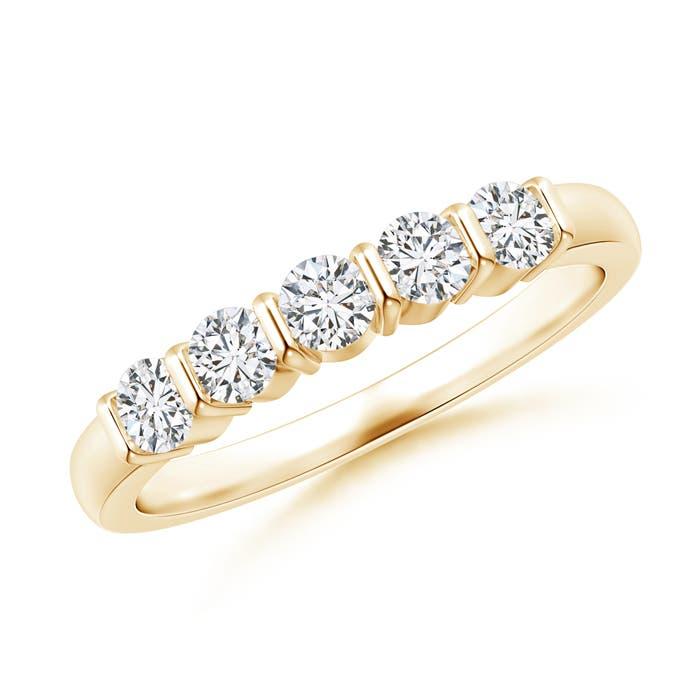 Floating Five Stone Bar-Set Diamond Wedding Band - Angara.com