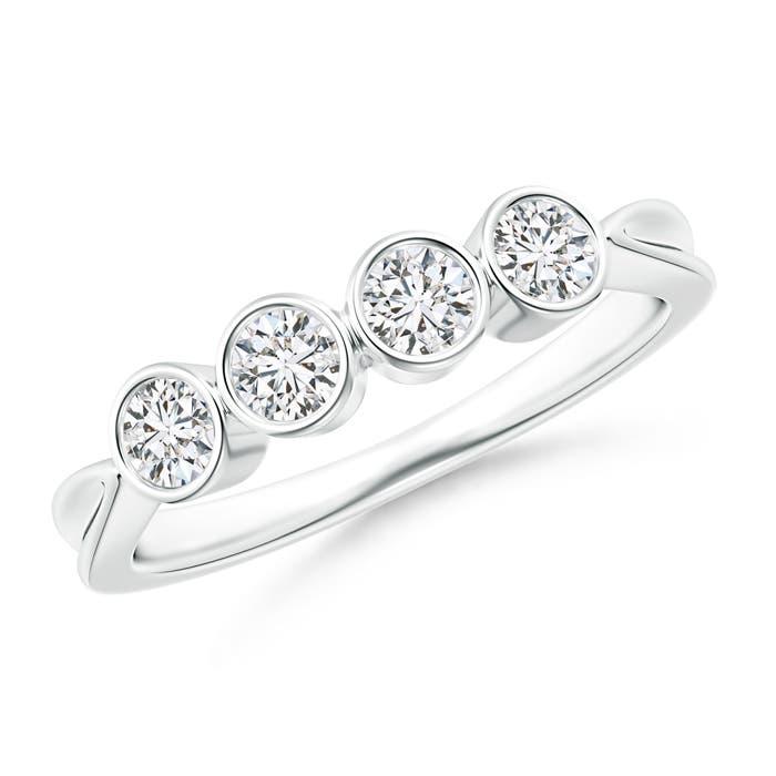 Four Stone Bezel-Set Diamond Concave Wedding Band - Angara.com