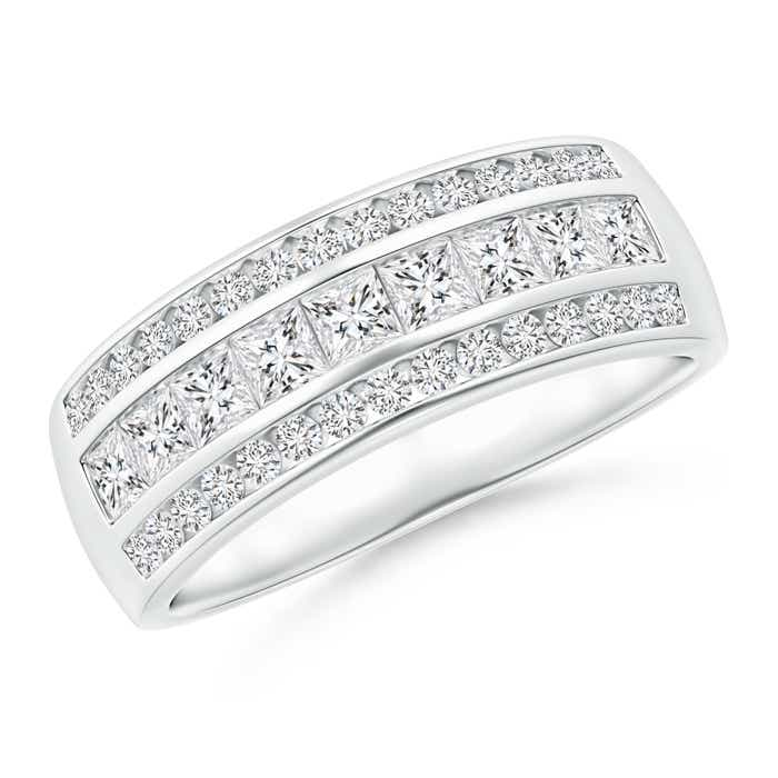 Angara Channel-Set Princess and Round Diamond Triple Row Band AITMdCO